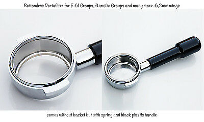 Bottomless Portafilter For E61 Standard Groups And Rancilio - 62 Mm Wings