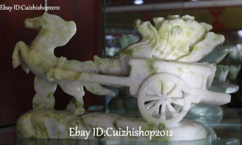 Natural Lantian Jade Running Horse Horses Animal Pull Bai Cai Cabbage Statue