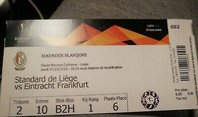 Ticket football Standard - Eintracht Frankfurt Francfort 07/11/19  Europa League