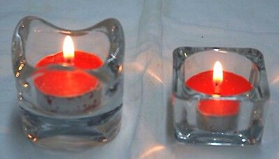 1-Tea Light/Votive Holders~Clear Square OR Flame Cut~Heavy Glass~Beautiful Lit~ (Votive Holder)