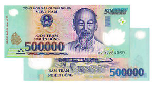 1,000,000 VIETNAM DONG (2x 500,000) BANK NOTE MILLION VIETNAMESE  UNCIRCULATED