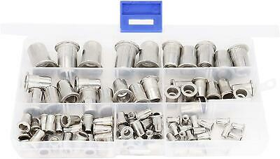 Stainless Steel Rivet Nuts Threaded Insert Nutsert Rivnuts Assortment Kit 90pcs