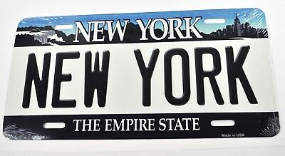 USA Auto Nummernschild License Plate Deko Blechschild New York weiß-blau