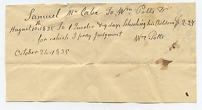 1835 Bill For Tuition