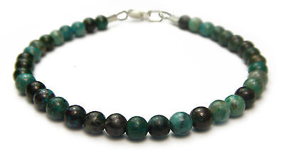 Bracelet - 4mm Chrysocolla & Ss Crystal Bead W/description - Healing Reiki Stone