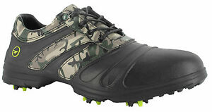 HI-Tec-Mens-Waterproof-Cleated-Black-Camouflage-Golf-Shoes-Lightweight-Fit