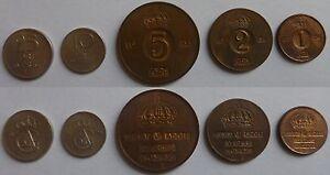 Svezia-Regno-Gustavo-VI-Adolfo-5-monete-5-coins-25-10-5-2-1-ore