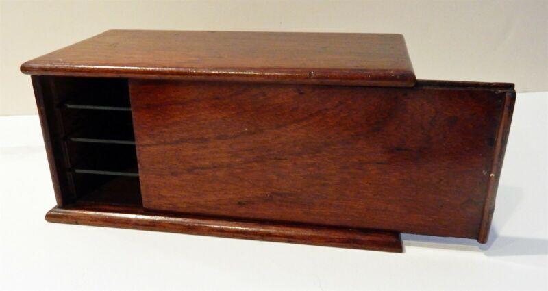 Antique English Mahogany Slide Top Case / Box Hand Cut Dovetails & Glass Shelves
