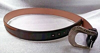 Classic Western Mens Leather Belt 2 Tone Brown, Silver Buckle. NEW! Classic Look Classic Belt