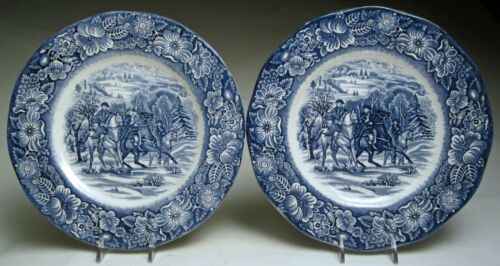 """VTG Liberty Blue Dinnerware Lunch Plates 8 ¾"""", George Washington at Valley Forge"""