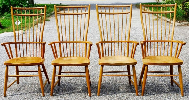Set Of 4 Windsor Armchair Bird Cage Back Golden Oak Arm Chairs