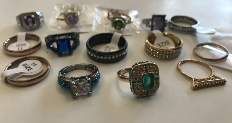 14 New CZ Gemstone Gold Silver Plated Rings Junk Drawer Jewelry Lot Gems Bling