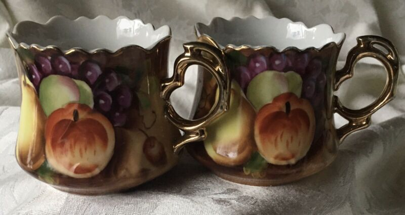 Vintage Lefton 2 Tea Cups Hand Painted Harvest Fruit Pattern