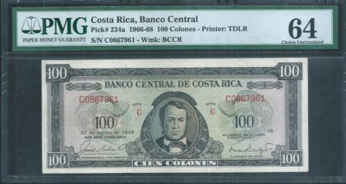 COSTA RICA 100 Colones  P234a 27th Aug 1963 PMG 64 Choice Uncirculated