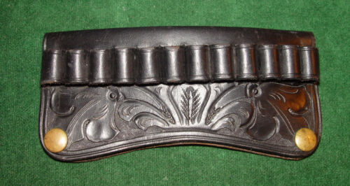 Vintage S.D. MYRES Black Floral Carved Cartridge Slide with 45 Long Colt Loops