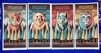DKNG Ben Harper & The Innocent Criminals 4 Poster Fillmore Set 2015 S/N /230