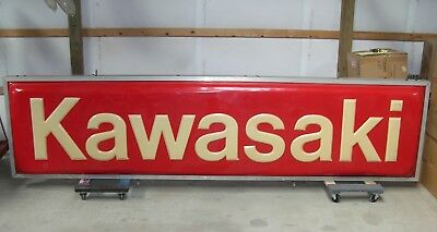 3 X 12 Kawasaki Dealership Outdoor Lighted Double Sided Sign Great Shape