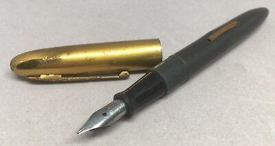 Vtg Varsity Fountain Pen Dark Gray Lever Fill Gold Metal Cap Curvex Point Nib