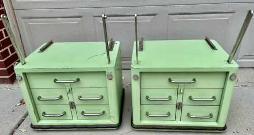Vintage Medical Doctor Green Metal Mobile Cabinet On Casters
