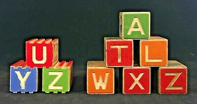 Vintage Wood Children's Building Blocks Alphabet ABCs Animal Number Pictures