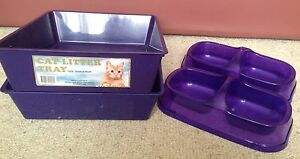 Purple kitty litter trays and matching bowls Armidale Armidale City Preview