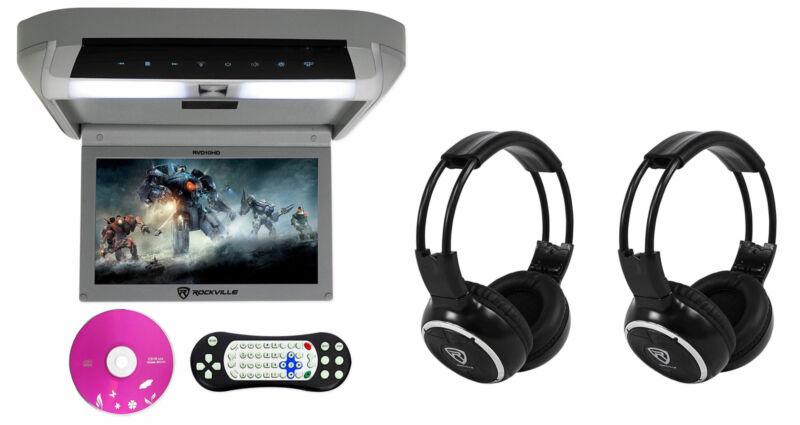 "Rockville RVD10HD-GR 10.1"" Grey Flip Down Monitor DVD Player HDMI USB+Headphones"