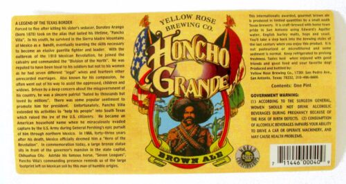 Yellow Rose Brewing Co HONCHO GRANDE - BROWN ALE beer label TX 16oz STICKER
