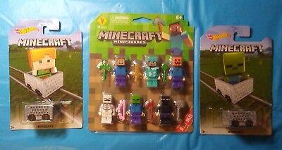 Lot of 3: Minecraft Action Mini Figures with Alex & Zombie Mini figure minecarts