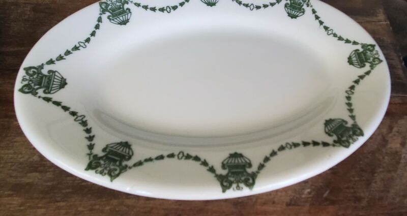 4 Vintage Mayer China Gem Pattern Small Oval Plate 1915 Green Floral Swag Nice