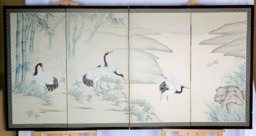 VGUC Byobu with 4 Cranes in Mountain Stream 4-Panel Chinese Folding Screen