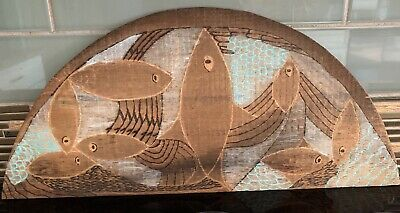 Mid Century Modern Engraved Painted Wood Fish Wall Art Plaque ~ Signed ~ OOAK