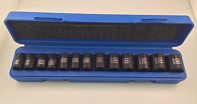 "13pc 3/8"" Dr. Metric 6pt Point Shallow Impact Sockets Set"
