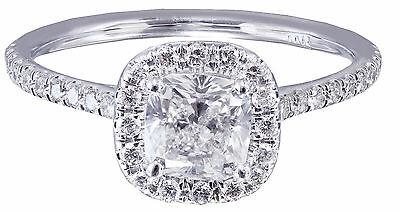 GIA H-SI1 14k White Gold Cushion Cut Diamond Engagement Ring Halo Deco 1.20ctw 9