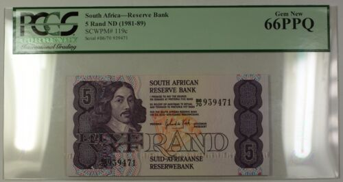 (1981-89) No Date South Africa 5 Rand Bank Note SCWPM# 119c PCGS Gem New 66 PPQ