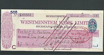 wbc. - CHEQUE - CH918 - USED -1928/29- WESTMINSTER BANK, RICKMANSWORTH