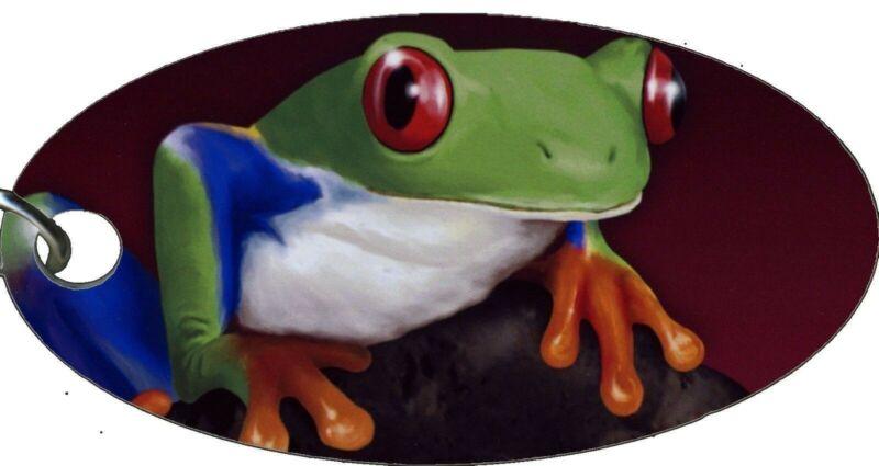 Tree Frog Green Toad Amphibian Stylish Aluminum Oval Keychain Key Chain NEW COOL