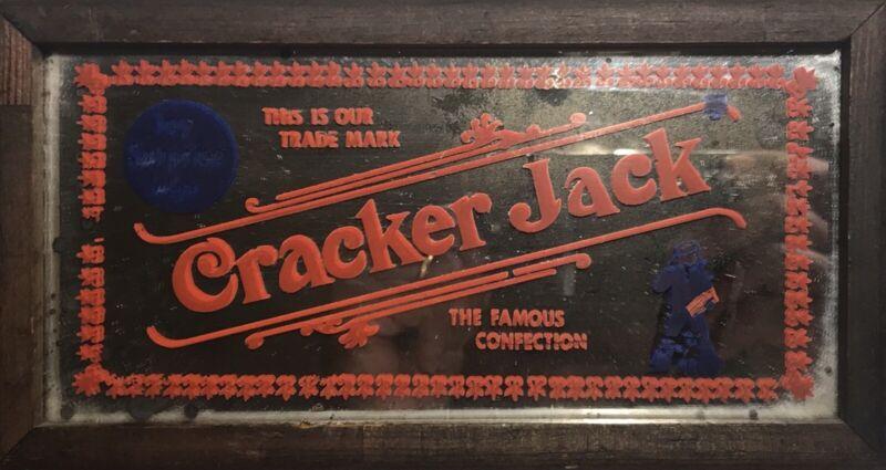 Vintage Cracker Jack Wood Framed Mirror (1974)