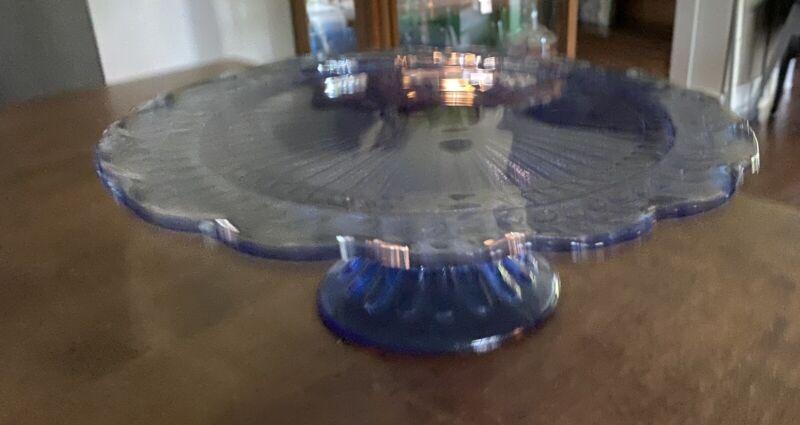Blue Glass cake serving stand plate platter pedestal cupcake tray / wedding
