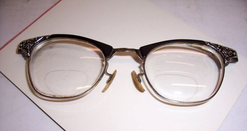 0c7287940b2 1950 S RETRO VINTAGE ART CRAFT 1 10 12K GOLD FILLED CAT EYE GLASSES 22MM