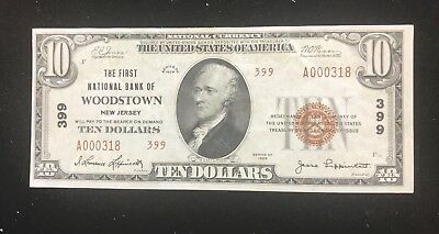 Woodstown New Jersey  First National Bank Of   1929 Type 2 Au  Unc