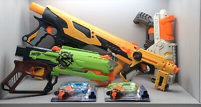 Lot Of 6 Nerf Guns For Kids Play Set Shooting Fun Action Crossbow Darts Air Hogs