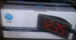 ONN AM/FM Digital Alarm Clock Radio Large 1.8 Display Battery Back Up - NIB