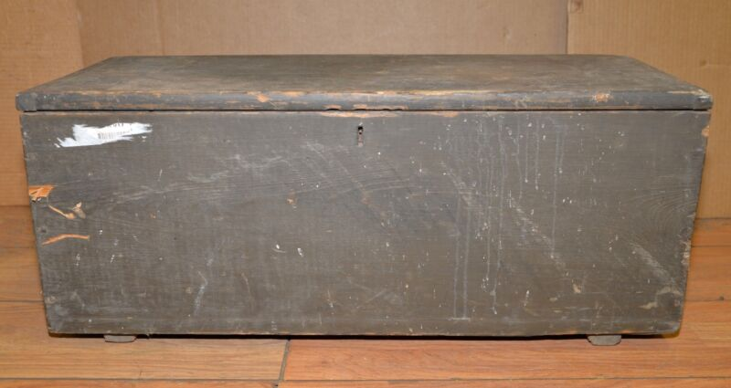 Antique ships tool box collectible carpenters chest early tool trunk pine