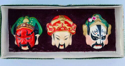 Vintage Japanese Ceramic Mask Hajime Miniature Trio Hand Painted In Original Box