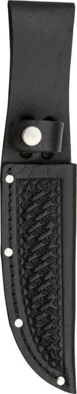 "Straight Fixed Blade Black Basket weave Leather 5"" Knife Sheath 208"
