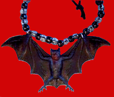 Funky Black Gothic GIANT BAT PENDANT NECKLACE Emo Vampire Amulet Costume Jewelry