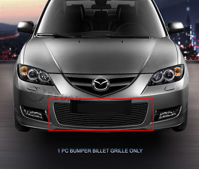 - Black Billet Grille Grill Bumper Insert For 2004 2005 2006 Mazda 3 Sport Sedan