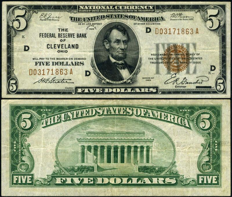 FR. 1850 D $5 1929 Federal Reserve Bank Note Cleveland D-A Block VF