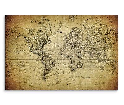 120x80cm Leinwandbild auf Keilrahmen Landkarte Weltkarte (Landkarte Welt Auf Leinwand)