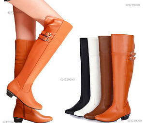 Womens-Mid-Heel-Boots-Over-Knee-High-Side-Zipper-Strappy-Shoes-AU-All-Sz-Y210